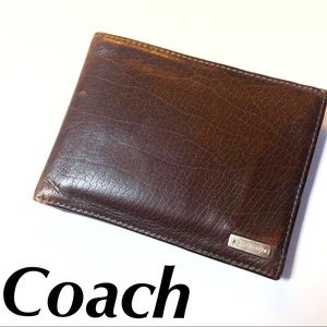 Coach Wallet Leather Brown Men's